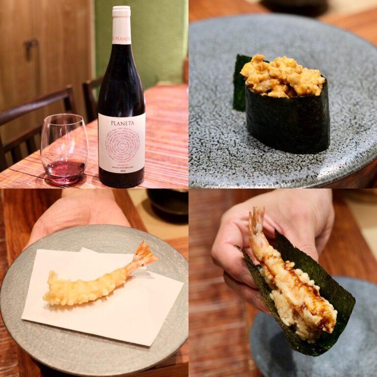 (写真左上から時計回りで)シチリアの赤ワイン「Planeta Frappato Vittoria 2018」、「あん肝」、「海老天海苔巻き」とその海老天。