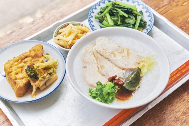台湾粥セット950円。セットのおかずはお任せで3品。