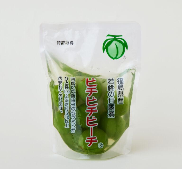 ピチピチピーチ:果実を大きくするために摘果した若桃を使用。爽やかで食感もよく、種ごと食べられる。6袋セット3,499円(メーカー小売り希望価格)。購入はこちらのサイトから。